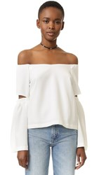 Re Named Off Shoulder Cutout Sleeve Top Off White