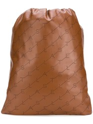 Stella Mccartney Logo Perforated Drawstring Backpack Brown