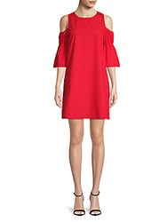 Saks Fifth Avenue Red Marie Cold Shoulder Cotton Shift Dress Red