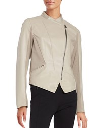 T Tahari Oriana Faux Leather Motorcycle Jacket Taupe