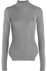 Thierry Mugler Metallic Ribbed Stretch Knit Turtleneck Sweater Silver