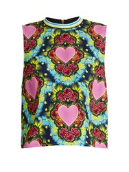 House Of Holland Sleeveless Heart Print Crepe Top Multi