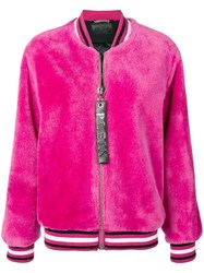 Philipp Plein Fur Bomber Jacket Pink And Purple