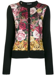 Dolce And Gabbana Cashmere Floral Cardigan Black