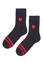 Topshop Sporty Emoji Heart Badge Socks Navy Blue