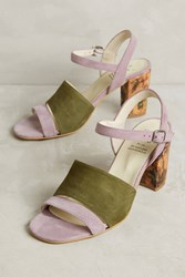 Anthropologie Kmb Colorblock Heels Khaki