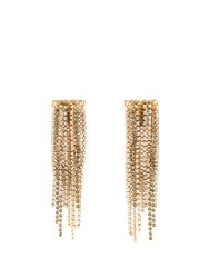 Lanvin Crystal Embellished Clip On Fringed Earrings Gold
