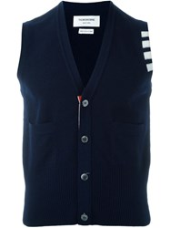 Thom Browne Sleeveless Buttoned Cardigan Blue