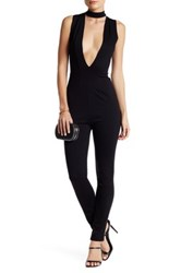 Blvd Plunging V Neck Choker Jumpsuit Black