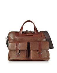 The Bridge Brown Leather Double Handle Briefcase W Two Front Pockets