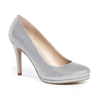 Paradox London Pink Alexandra Round Toe Platform Court Shoes Silver Metallic