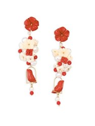 Of Rare Origin Nesters Coral Horn Bone And Freshwater Pearl Drop Earrings Ivory Ruby