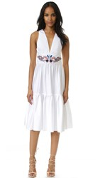 Cynthia Rowley Embroidered Twill Ruffle Dress White