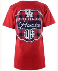 Royce Apparel Inc Women's Houston Cougars Buffalo Plaid Big T Shirt Red