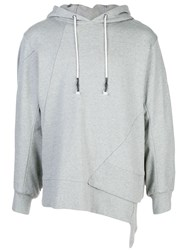 Mostly Heard Rarely Seen Staggered Hem Hoodie Grey