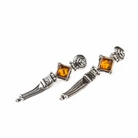 Silveroots Heirloom Amber Silver Earrings Silver Yellow Orange
