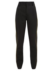 Saint Laurent Gabardine Piped Trim Tailored Wool Trousers Black