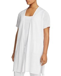Eileen Fisher Plus Short Sleeve Long Cardigan White
