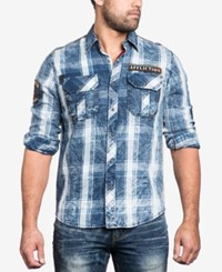 Affliction Men's Strong Instinct Woven Shirt Indigo