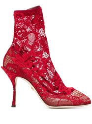 Dolce And Gabbana Lace Boots Red