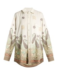 Ashish Oversized Paisley Embroidered Cotton Shirt White Multi