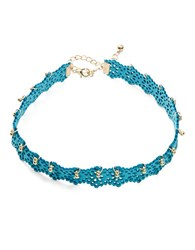 Design Lab Lord And Taylor Flower Cutout Faux Leather Choker Necklace Multi