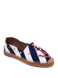 Dolce And Gabbana Star Studded Anchor Espadrilles Multi