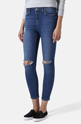Topshop Moto 'Jamie' High Rise Ripped Jeans Blue Regular Short And Long