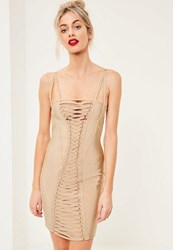 Missguided Nude Bandage Strap Detail Bodycon Dress Camel