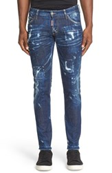 Men's Dsquared2 'Clement American Pie' Distressed Fray Hem Skinny Jeans