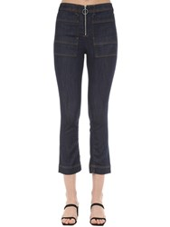 3X1 Scarlet Zipped Cotton Denim Jeans Dark Blue