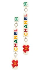 Wgaca What Goes Around Comes Around Chanel Acrylic Dangle Earrings Previously Owned White Multi