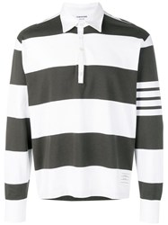 Thom Browne 4 Bar Rugby Stripe Oversized Polo Green