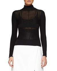 Narciso Rodriguez Linear Ridge Knit Turtleneck Sweater