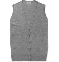 John Smedley Huntswood Wool Sweater Vest Gray