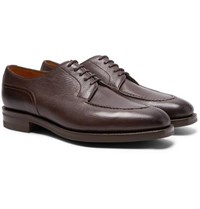 Edward Green Dover Textured Leather Derby Shoes Dark Brown