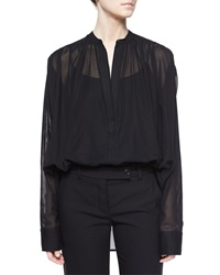 Helmut Lang Poet Sheer Long Sleeve Blouse