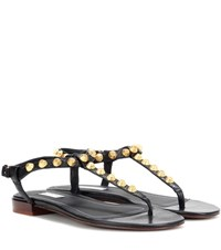 Balenciaga Giant Studded Leather Sandals Black