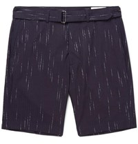 Officine Generale Julian Striped Cotton Wool And Cashmere Blend Shorts Blue