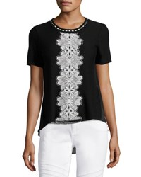 Elie Tahari Raquel Embroidered Short Sleeve Sweater W Chiffon Back Black