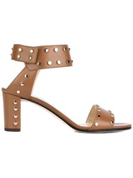 Jimmy Choo Veto 65 Leather Studded Sandals Brown