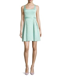 Shoshanna Jacquard Printed Cocktail Dress Aqua Gold Combo