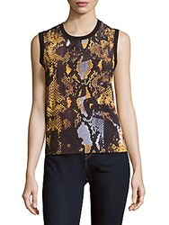 Mcq By Alexander Mcqueen Printed Sleeveless Cotton Top Amber Snake
