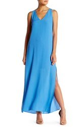 Alice Olivia Grady High Slit Loose Maxi Dress Blue