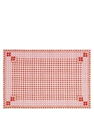 D'ascoli Ionna Set Of Four Gingham Linen Blend Placemats Red Print
