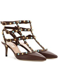 Valentino Rockstud Rolling Leather Kitten Heel Pumps Brown