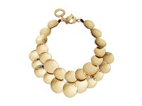 Robert Lee Morris Hammered Gold Disc Frontal Necklace Shiny Gold Necklace Metallic