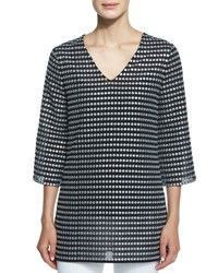 Michael Kors Embroidered Metallic Dot Print Tunic Black