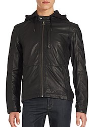 Cole Haan Hooded Leather Jacket Black