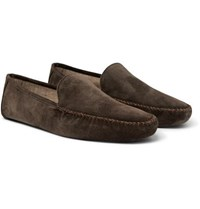 Loro Piana Maurice Cashmere Lined Suede Slippers Brown